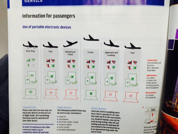 Handy im Flugzeug - Information im Boardmagazin bei Austrian Airlines